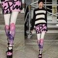 Мода многоцветный line цветочная мода персонализированные печати колготки чулки женщины девушки женщины колготки