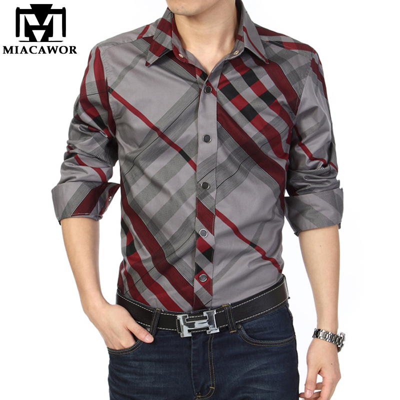 MIACAWOR Brand Casual Shirt Men 100% Cotton Fashion Striped Shirts Long-Sleeved Shirts Slim Fit Camisa Social Chemise Homme C142