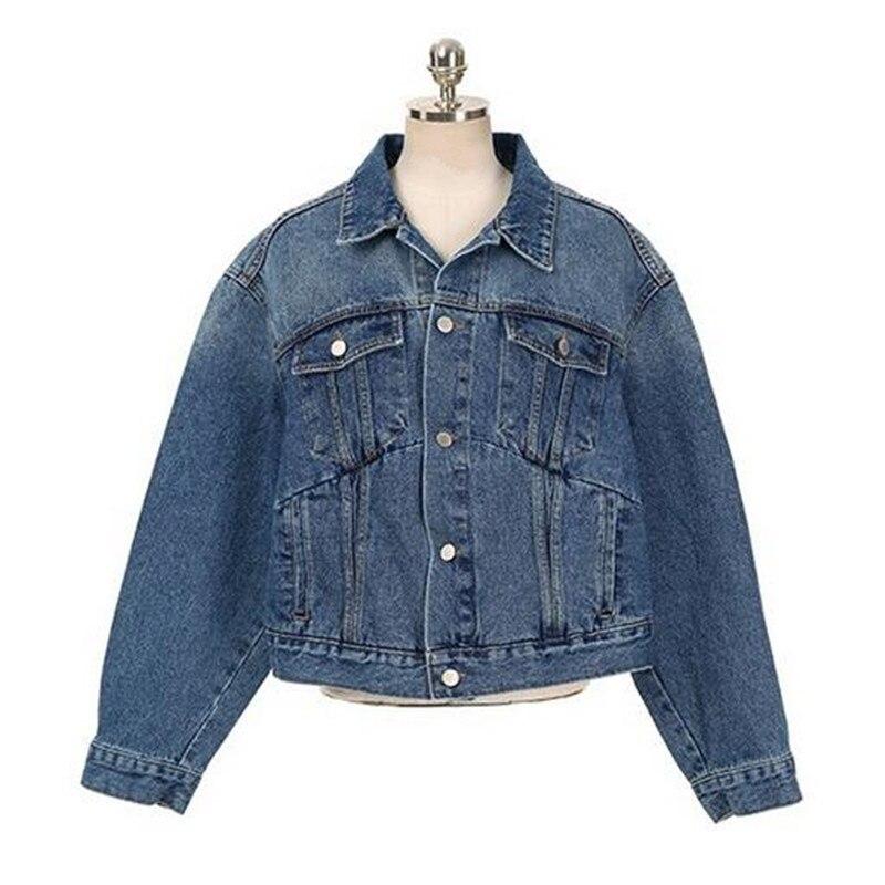 Kedera 2017 primavera chaqueta de mezclilla femenina casual doble bolsillo decor