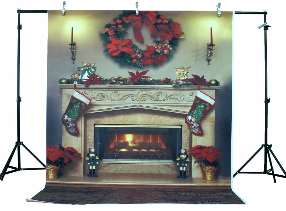 LIFE MAGIC BOX Vinyl Christmas Backdrops Fireplace Christmas Photo Booth Background for Photography hearth