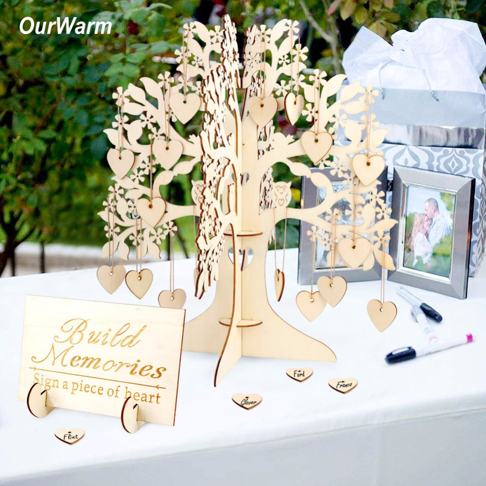 OurWarm Wedding Guest Book Tree Visit Sign Guest Book Wooden Hearts Pendant Drop Ornaments for Wedding Party Decoration Supplies