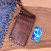 EUMOAN Handmade leather long wallet retro old multi card bag men's handbag leather large capacity zipper phone bag