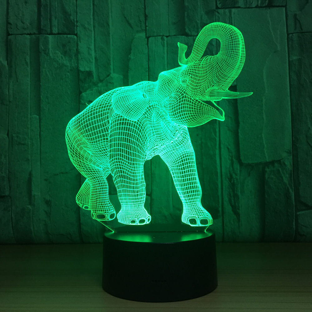 Loely Ephant 7 Color Changing Animal 3D led Lamp USB Charge 3D night light Bedroom Bookcase Night Light Home Decor Creative Gift