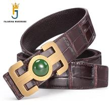 FAJARINA Mens Top Quality Cowhide Ring Real Jade Decorative Smooth Buckle Belts Genuine Leather Accessories for Men LUFJ703