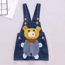 DIIMUU Toddler Baby Clothing Boys Girls Shorts Overalls Denim Pants Casual Suspender Cartoon Cute Bear Children Jumpsuits