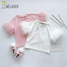 Welaken/Детская футболка с рисунком единорога и пайетками для девочек ясельного возраста, детская одежда модные футболки принцессы для девочек с единорогом