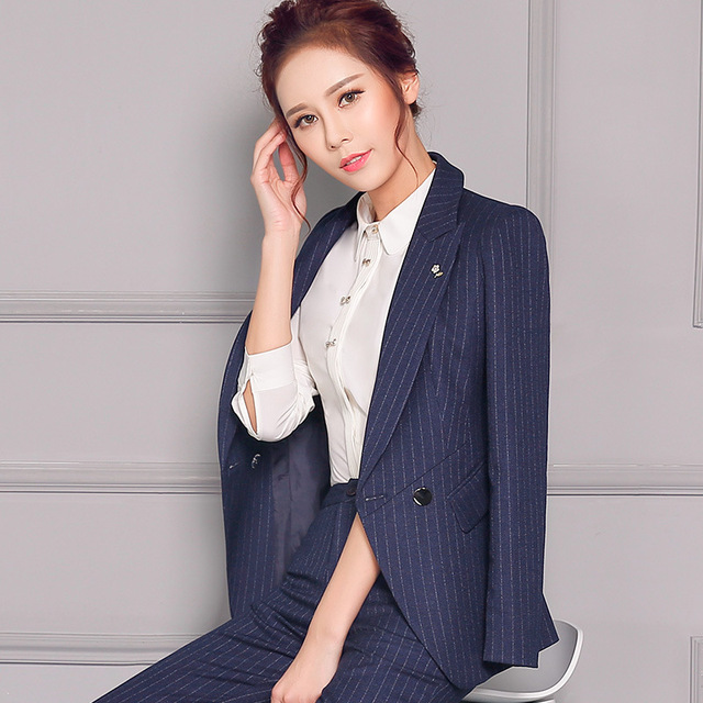 Fashion stripe suit set blazer for woman long sleeve trousers womens business suits profession office lady office striped suit