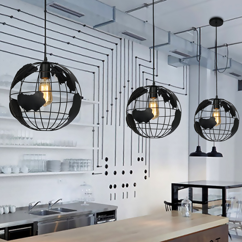 Retro industry personality iron globe coffee bar art hall pendant light creative restaurant balcony aisle lighting GY170 light the mediterranean restaurant in front of the hotel cafe bar small aisle entrance hall creative pendant light df57