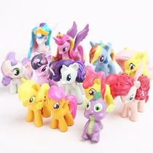 Hot 12pc/Set Kids Gift PVC Model Cute Cartoon Pets Horse Unicorn Poni Luna Princess Action Figures Dolls Girls Cartoon Toy RT089