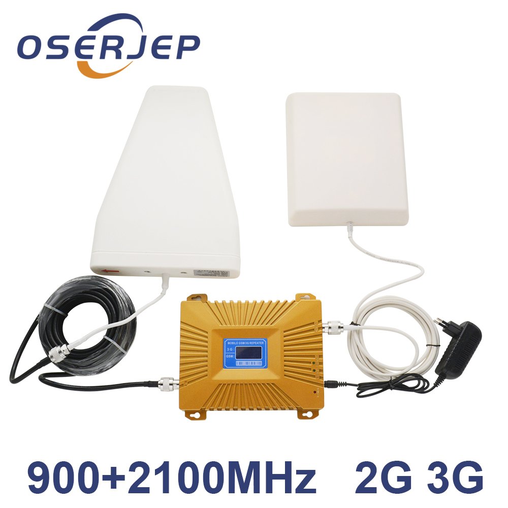 HOT LCD Display 3G W CDMA 2100MHz GSM 900Mhz Dual Band Cell Phone Signal Booster GSM 900 2100 UMTS Signal Repeater Amplifier-in Signal Boosters from Cellphones & Telecommunications    1