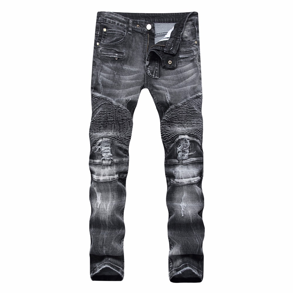 New Dropshipping Ripped Black Mens Jeans Fashion Holes Mens Jeans Casual Straight Teenage Jeans Slim Fit Jeans Men Plus Pants