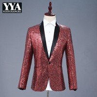 High Quality Harajuku Performance Men Stage Coat Bling Bling Sequins Blazer Slim Fit Suit Jacket Nightclub Fashion Outerwear