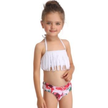 Dwa kawałki stroje kąpielowe stroje kąpielowe stroje kąpielowe dla dziewczynek ławki strój kąpielowy Bikini zestaw lato pływanie tanie i dobre opinie Pływać NYLON spandex Dziewczyny Stałe PM190160 Pasuje prawda na wymiar weź swój normalny rozmiar CEECGDEC