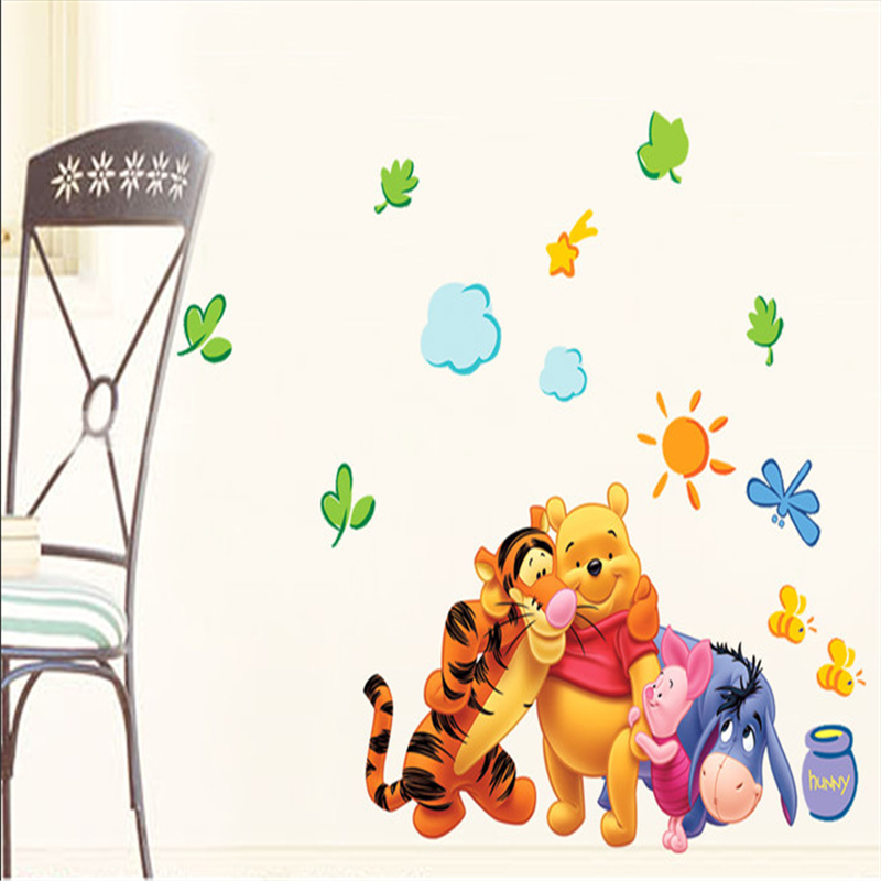 hot winnie the pooh friends wall stickers for kids rooms removable and reusable flower fairy vinyl wall decals