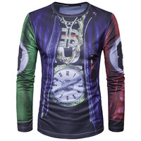 2017 Spring Fashion False Two Pieces Design 3D Printed T Shirts O Neck Men T Shirt