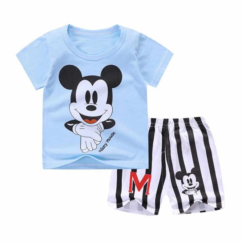 Новая летняя одежда с Микки Маусом для маленьких мальчиков, комплект одежды для новорожденных мальчиков и девочек, Спортивная футболка + шорты, костюмы