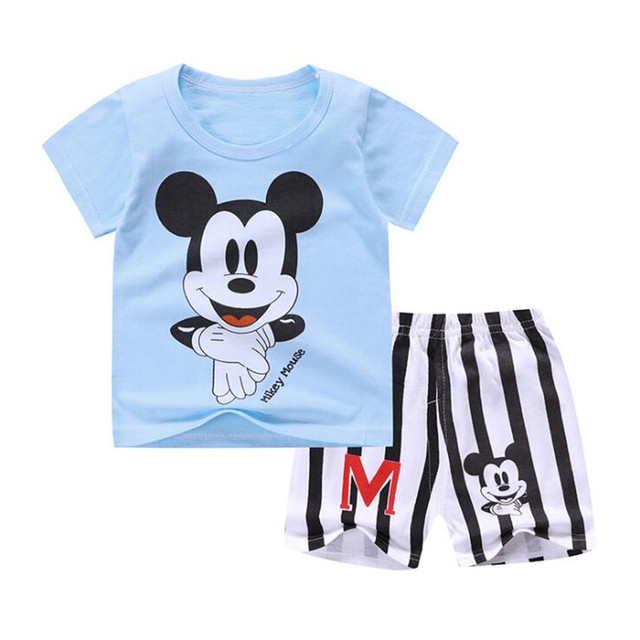 918ab64474397 New Baby Boy Summer Mickey Clothes Infant Newborn Boy Girl Clothing Set  Sports Tshirt+ Shorts Suits-in Clothing Sets from Mother & Kids on ...
