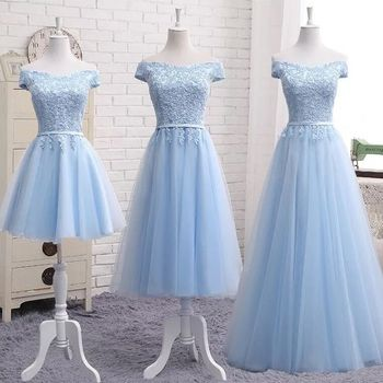 High Quality Sky Blue Tulle Lace Long Short Bridesmaid Dresses 2020 Formal A-line Vintage Party Prom Gowns Off the Shoulder