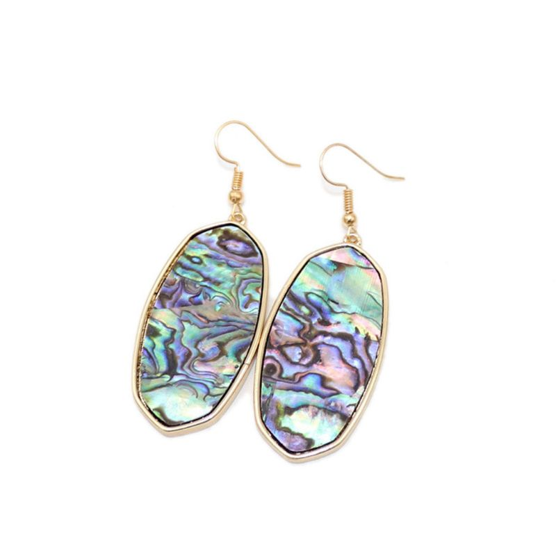 Ladies Shell Earrings Acrylic Acetate Oval Earrings Abalone Shell Drop Earrings Women Fashion Jewelry in Drop Earrings from Jewelry Accessories