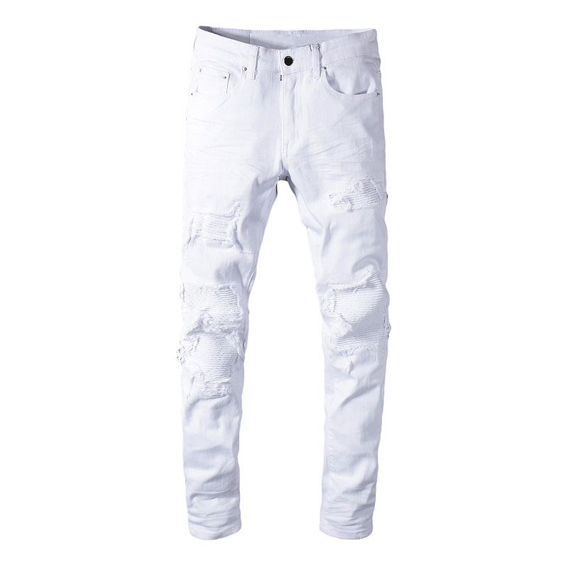 Sokotoo Men's White Stretch Ripped Biker Jeans Slim Skinny Pleated Patchwork Denim Pants