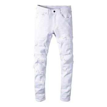 Sokotoo Men's white stretch ripped biker jeans Slim skinny pleated patchwork denim pants