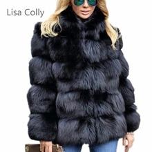 Lisa Colly Women Winter Luxury Faux Fox Fur Coat Slim Long sleeve collar coat Faux Fur Jacket Outwear Women Fake Fur Coats цена и фото