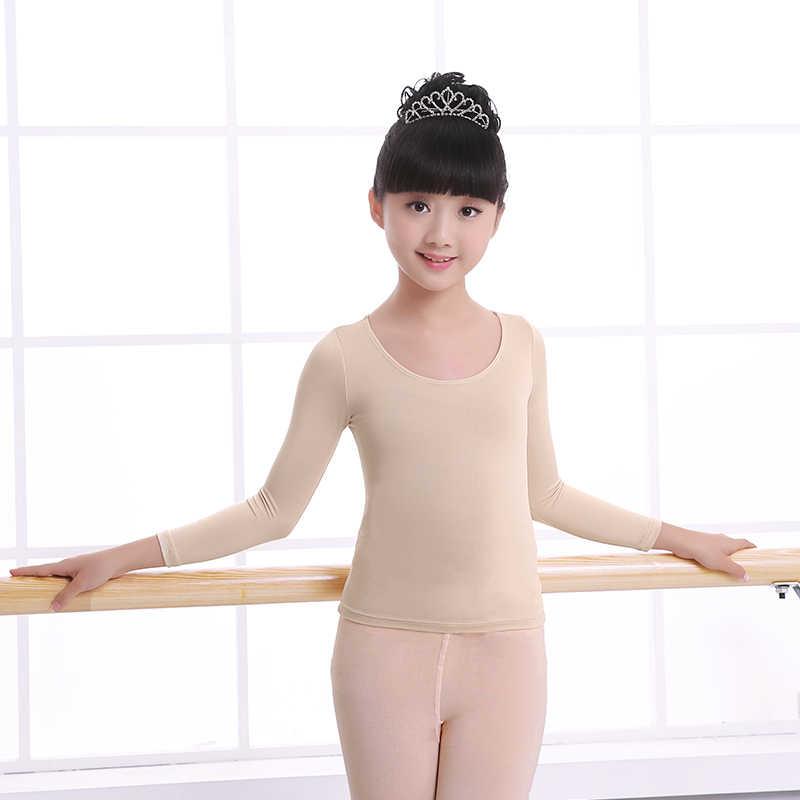 新しい長袖ヌードダンス子供女の子体操/バレエダンス肌高弾性トップススリム girls gymnastics nude