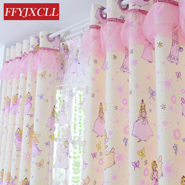 New Cotton Material Children Princess Room Cartoon Tulle Girl Window  Curtains For Living Room Bedroom Blackout