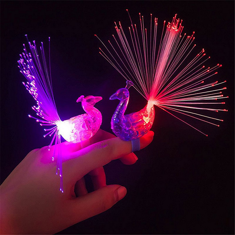 1pc Cartoon Funny Peacock Finger Lamp Toys Children Baby Kids Light Up Toys Novelty Toys Light Random Color SA583 P0
