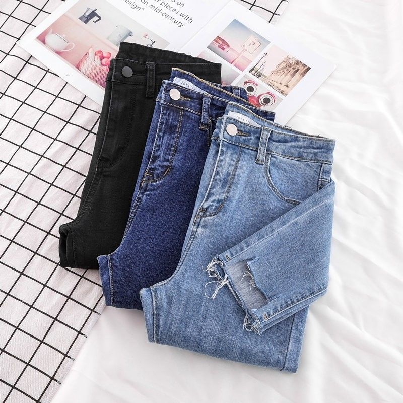New Skinny Pencil Jeans Female Denim Pants Women Blue Pants Ripped Stretch Waist Women Ankle Length Slim Jeans Pants Plus Size