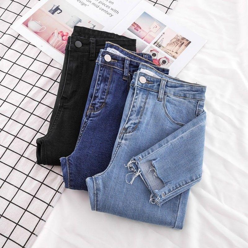 New Skinny Pencil Jeans Female Denim Pants Women Blue Pants Ripped Stretch Waist Women Ankle Length Slim Jeans Pants Plus Size
