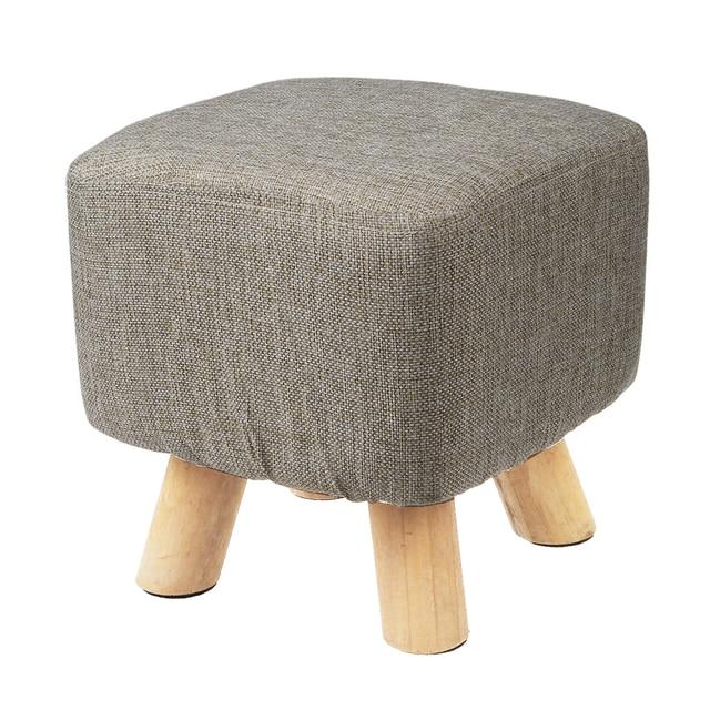 Современная роскошь ОБИТАЯ Footstool пуфик-табурет + деревянные ноги узор: квадратный ткань: серый (4 ноги)