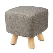 Nowoczesny luksusowy tapicerowany podnóżek pufa stołek + drewniany wzór nogi: kwadratowy materiał: szary (4 nogi)