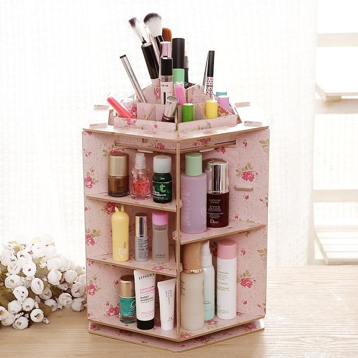 Bleiben Gold 360 Grad Rotierenden Kosmetische Fall Desktop Holz Aufbewahrungsbox Diy Kosmetik Bilden Organizer Makeup Organizer