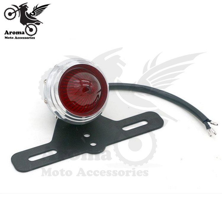 top quality retro moto rear blinker with metal license plate bracket motorbike tail light for harley LED motorcycle brake light