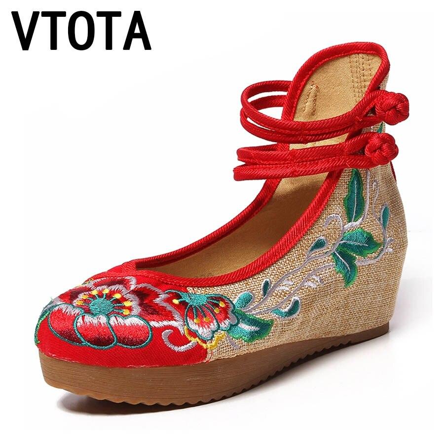 verde Zapatos Imprimir Retro Mujer Tela Vtota Otoño Altos Tacones rojo H114  Aumento Flor Negro Embrioder ... a85816f98030