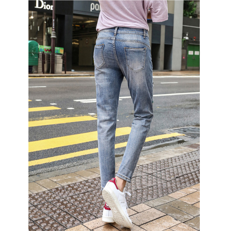 Lâche longueur Street Blue 2018 Pantalon Trou Cheville Harem Denim Crayon Jeans Femelle Main Fashion Broderie Femmes Déchiré High PSwZPx7H
