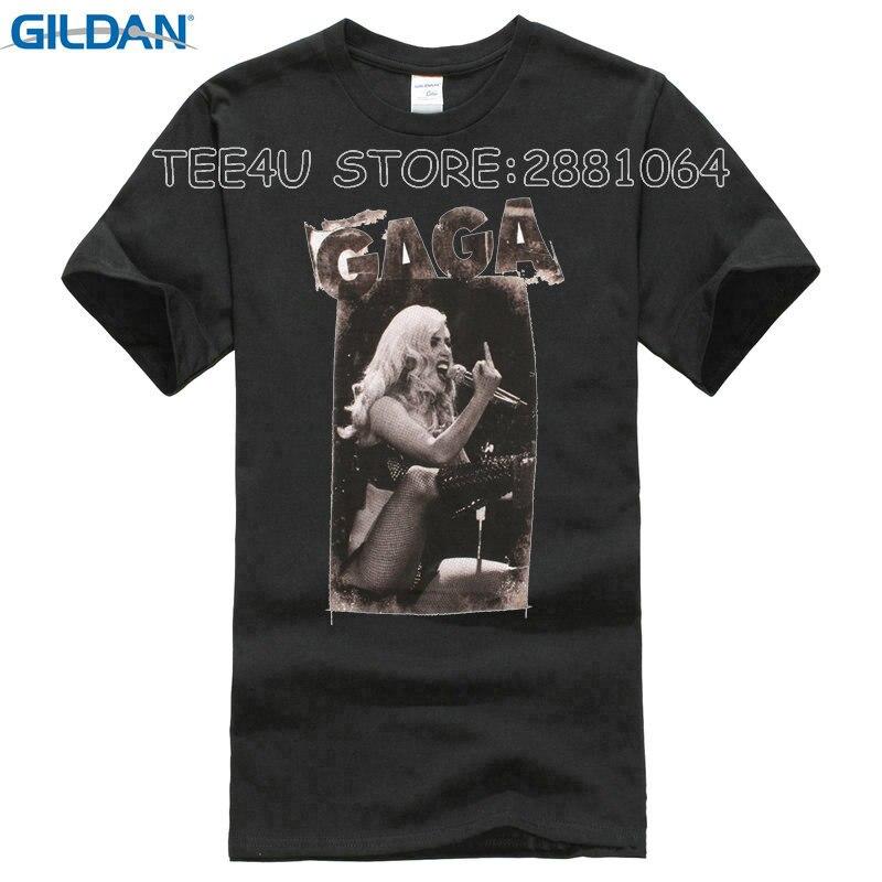 2017 Promotion Top Fashion Fashion O-neck Broadcloth Tee4u Hipster Tees Summer T Shirt Mens Short Sleeve Lady Gaga Print Tee