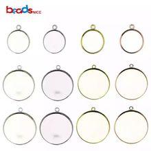 Beadsnice, 925 пробы, Серебряный кулон, круглая основа,, ободок, подвеска, пустая заготовка для изготовления ювелирных изделий DIY ID27622