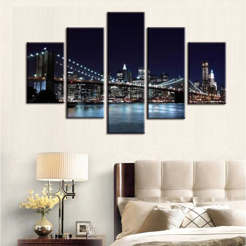 5Pieces Large Canvas Painting Pictures New York Bridge Wall Pictures for Living sitting Room Print Paintings Home Decor Canvas