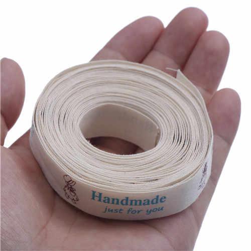"""5 หลา/lot/15 มม.ตัวเลือกหลาย """"Hand made"""" พิมพ์ริบบิ้นผ้าฝ้ายริบบิ้นสำหรับจักรเย็บผ้า DIY & บรรจุอุปกรณ์เสริม"""