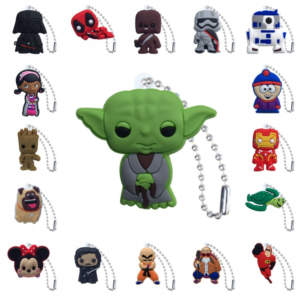 5pcs PVC Keychain Cartoon Figure Star Wars Key Marvel Avenger Chains Key Ring Super Hero Key Holder Fashion Charms Trinkets