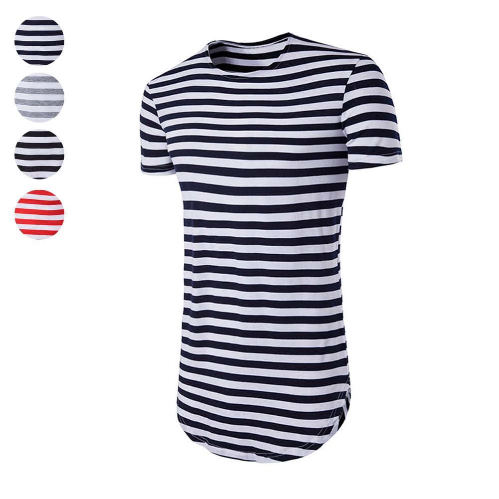 Fashion Men Summer T-shirt O-Neck Short Sleeves Slim Fit Striped Casual Hip Hop Tees Tops H9