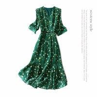 Genuine 100% silk dress new 2018 spring summer print floral dress half sleeve green brand runway A line office lady dresses
