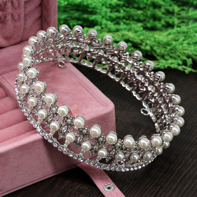 High Quality Princess Large Full Circle Rhinestones Pearl Queen Pageant Crown Wedding Party Tiara  Bridal Crown