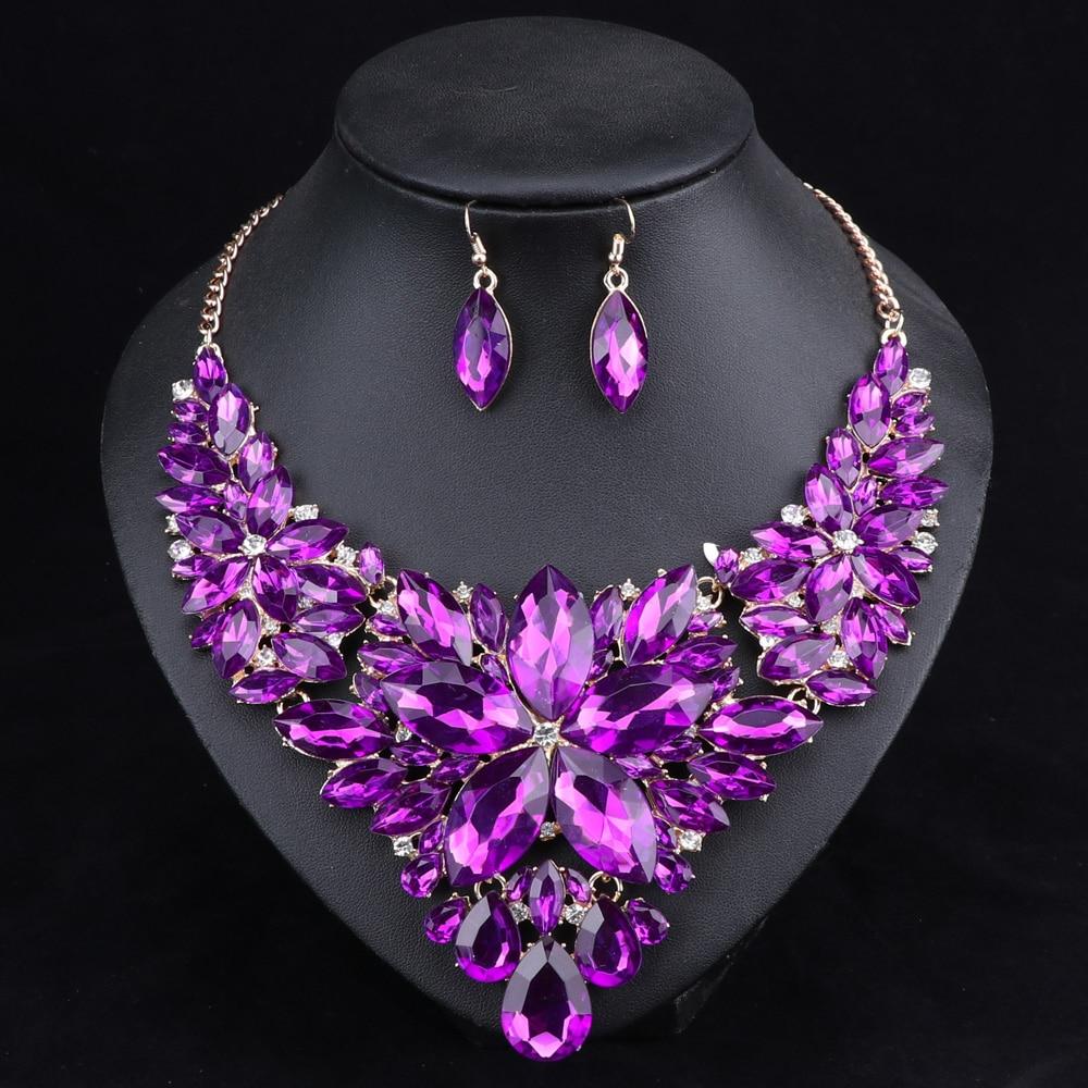Moda cristal Juegos de joyería collar nupcial Pendientes Sets la ...
