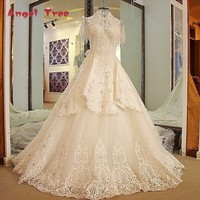 Angel Tree Latest Long Train Wedding Dresses High Neck Bling Beaded Rhinestone Ball Gown Short Sleeves