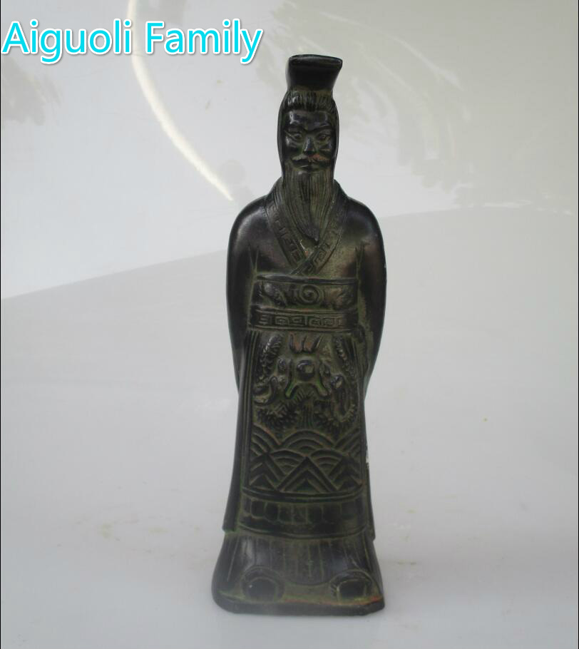 Art collection  Chinese Old  Bronze Carved Emperor Qin Shihuang Sculpture /High 9 inch Home Decorated Metal Statue 002Art collection  Chinese Old  Bronze Carved Emperor Qin Shihuang Sculpture /High 9 inch Home Decorated Metal Statue 002