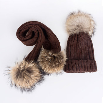 SuperB&G Children Winter Hat Scarf 2 Pieces Set Girls Boys Knitted Winter Scarves Hat 2 Set Pom Pom Kids Winter Cap Solid Color