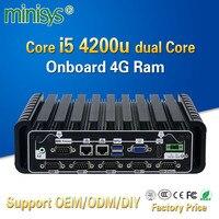 Minisys 2017 новые промышленные mini pc windows 10 intel core i5 4200u dual lan Встраиваемый компьютер на борту 4 Гб оперативной памяти 6 COM
